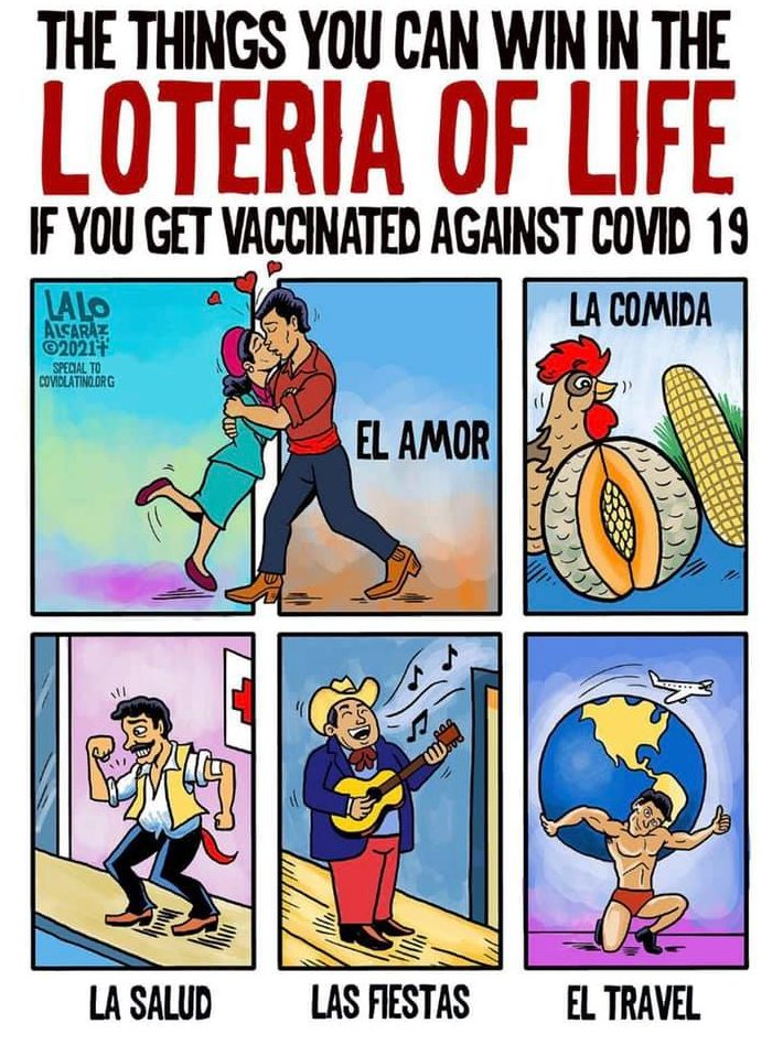 Lalo Alcatrez loteria style cards encouraging vaccinations against COVID-19.