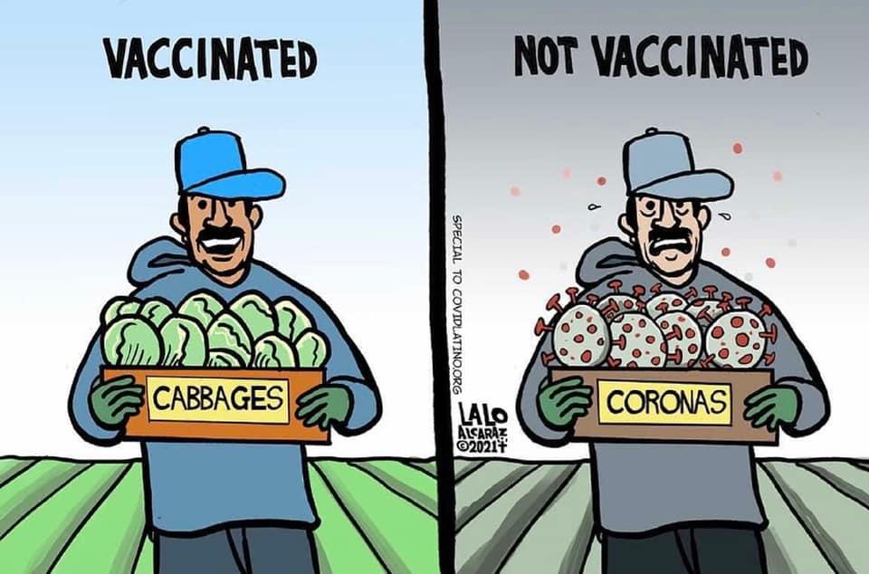 Lalo Alcatrez creates informative cartoons to encourage people to get vaccinated.