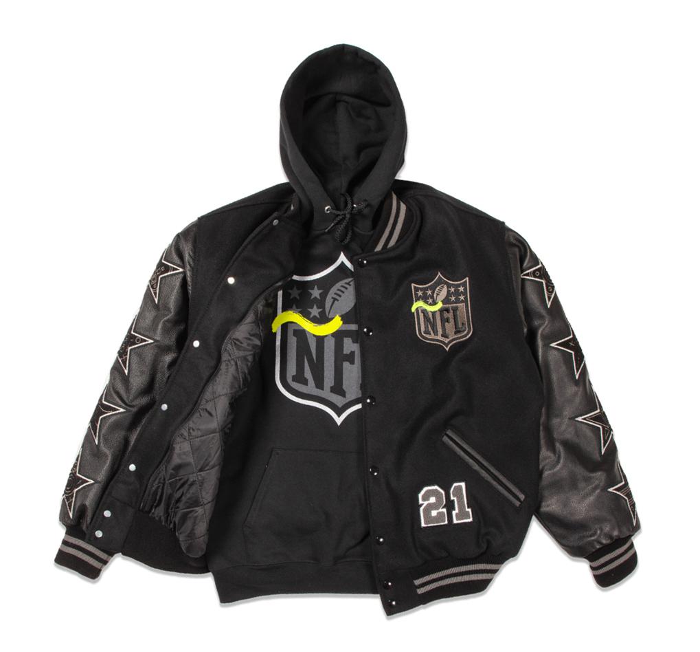 NFL sports hoodie and jacket.