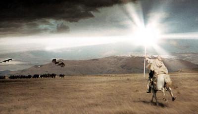 Simon Bolivar charging an army of Spanish orcs.