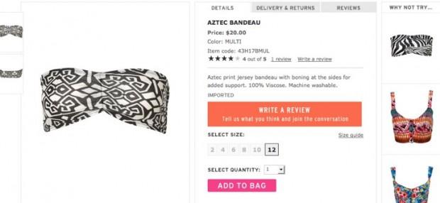 Aztec Bandeau - Lingerie & Sleepwear - Apparel - Topshop USA