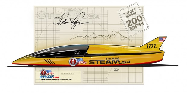 The liquid powered Cyclone Engine car that Hoyos will drive in his race this Summer with Team Steam USA.