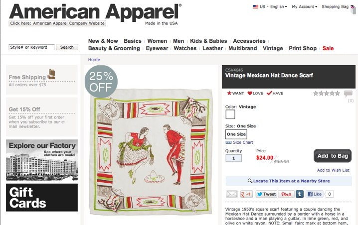 Vintage Mexican Hat Dance Scarf   Shop American Apparel