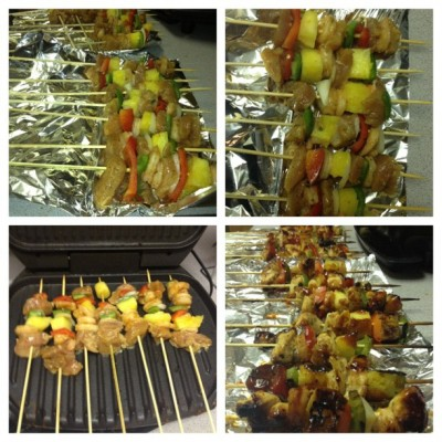 Chicken, shrimp, peppers & pinneapple pinchos by @kle_2crazy