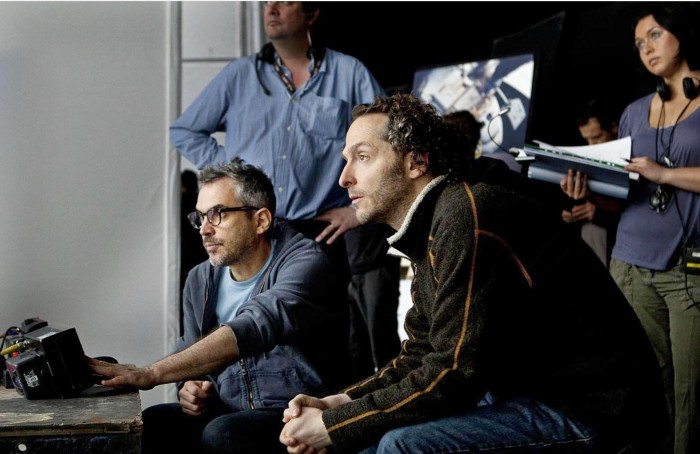 Alfonso Cuarón and Emmanuel Lubezki on the set of 'Gravity.'