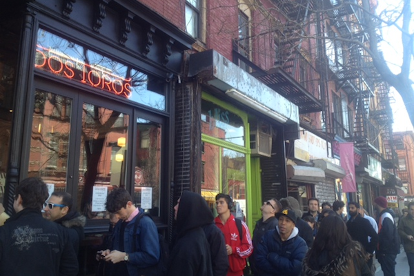 This is the line for the new Dos Toros on Bedford Ave