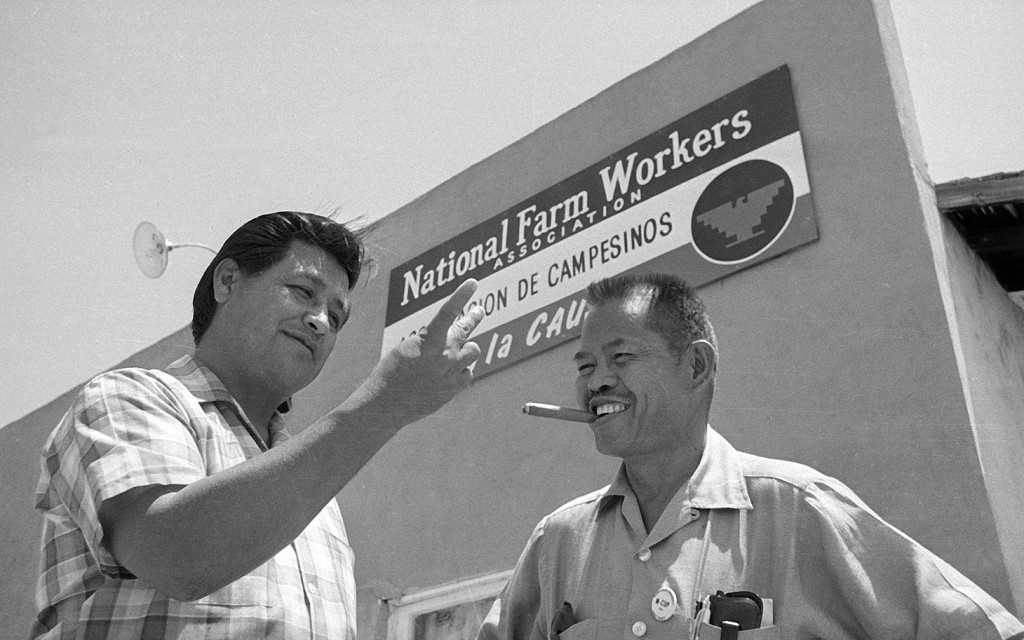 United Farm Workers founders Cesar Chavez and Larry Itliong. Photo: AP/Harold Filan