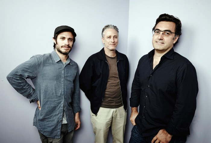 Gael Garcia Bernal, Jon Stewart, and Maziar Bahari