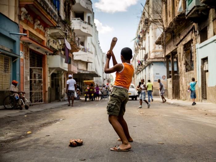 Street baseball in Habana Vieja