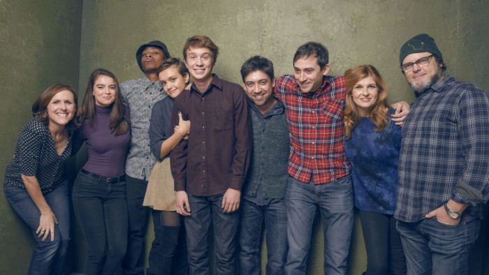 Director Alfonso Gomez-Rejon with cast of 'Me &  Earl & the Dying Girl'
