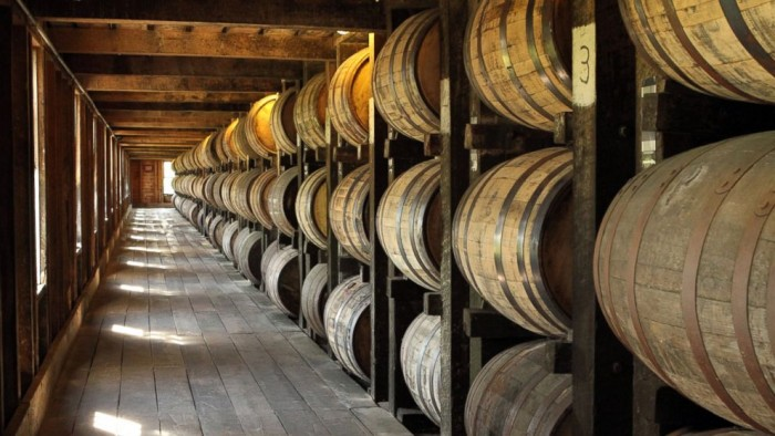 Bourbon aging in barrels at the distillery