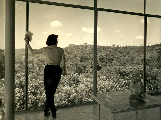 Lina Bo Bardi in her Glass House in São Paulo, Brazil. Credit Chico Albuquerque/Convenio Museu da Imagem e do Som- SP/Instituto Moreira Salles