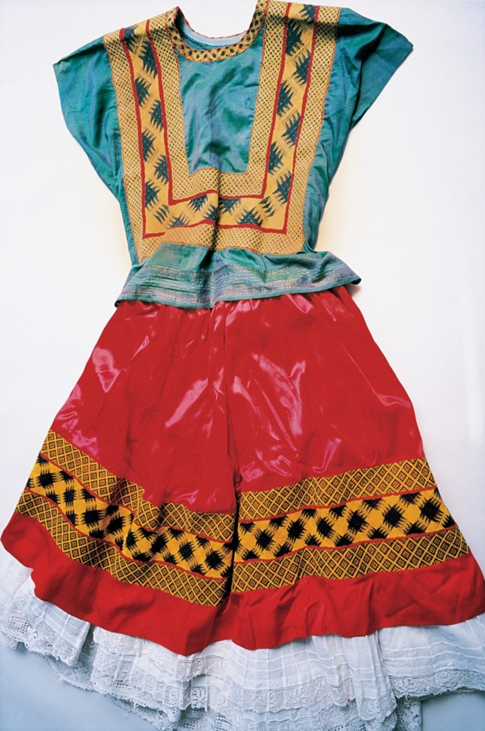 Kahlo's right leg was thinner than her left after childhood polio – and it was later fractured in 11 places when she had a horrific bus accident in her 20s. As a result, she wore long, traditional Tehuana dresses that concealed her lower body.