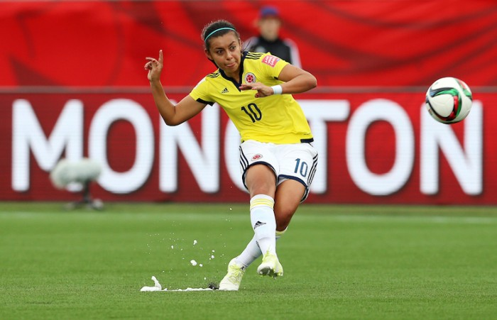 MONCTON, NB - JUNE 09:  Yoreli Rincon of Colombia takes a free kick during the FIFA Women's World Cup Group F match between Colombia and Mexico at Moncton Stadium on June 09, 2015 in Moncton, New Brunswick, Canada.  (Photo by Vaughn Ridley/Getty Images)