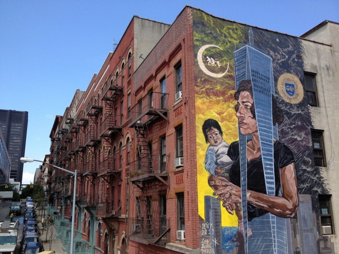 A mural painted for Los Muros Hablan NYC in Harlem, New York - 2013