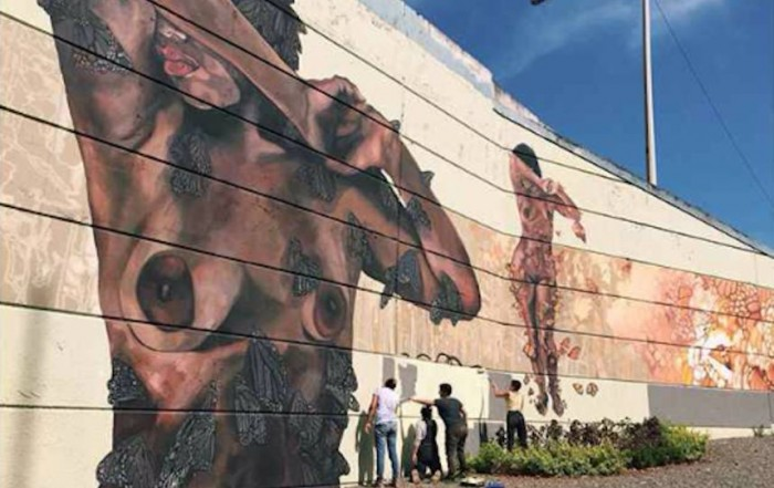 The mural, as originally painted by the Moriviví collective. Photo: Facebook