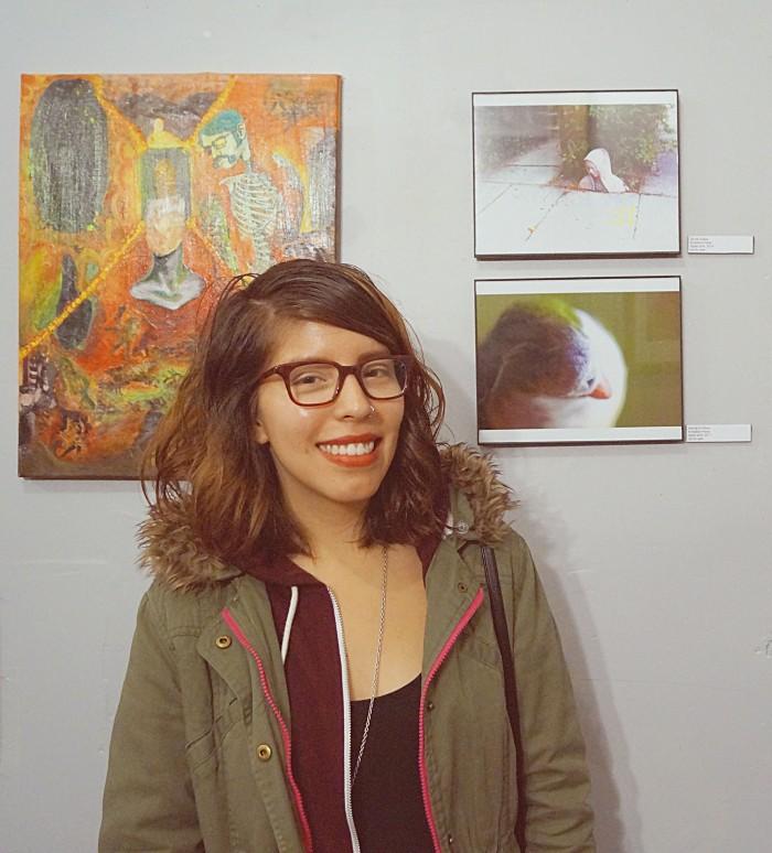 Ernestina Perez with Art. Photo by: EricaSanchez
