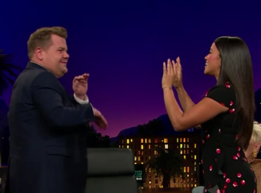 Watch Gina Rodriguez Accidentally Pop James Corden in the Face