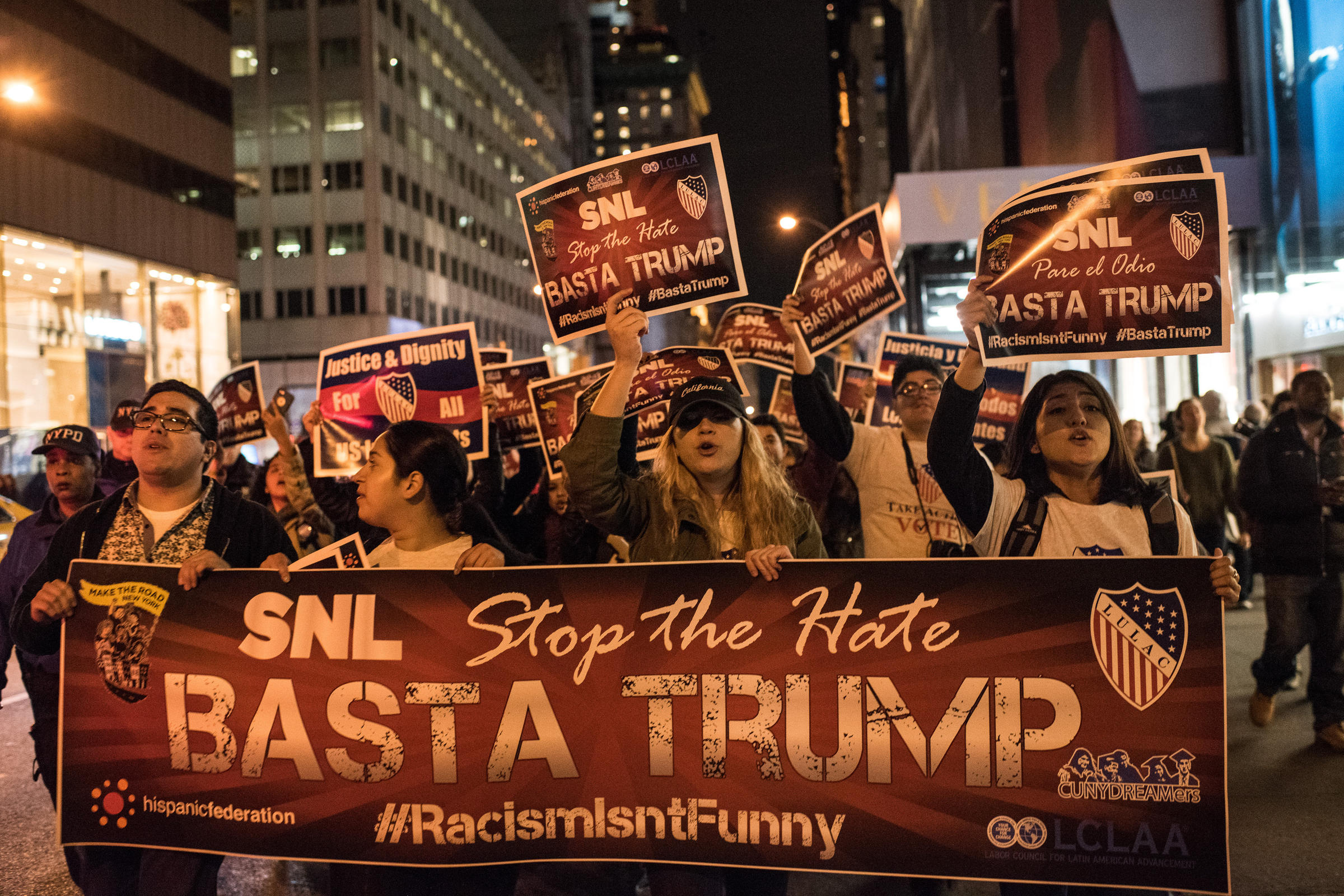 These Young Activists Were Protesting Trump Hosting 'SNL' While You Were at Home Tweeting