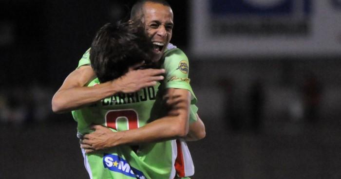 The Bravos' celebrate a first-half goal against Cimarrones de Sonora. Photo by Eduardo Gorena for El Paso Times