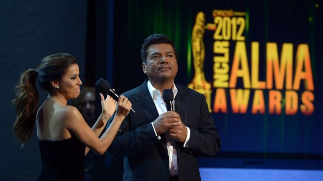 Hosts Eva Longoria and George Lopez speak onstage at the 2012 NCLR ALMA Awards
