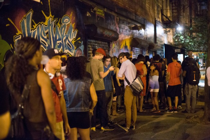 A line outside Nuyorican Poets Cafe. Credit: Claudio Papapietro for The Wall Street Journal