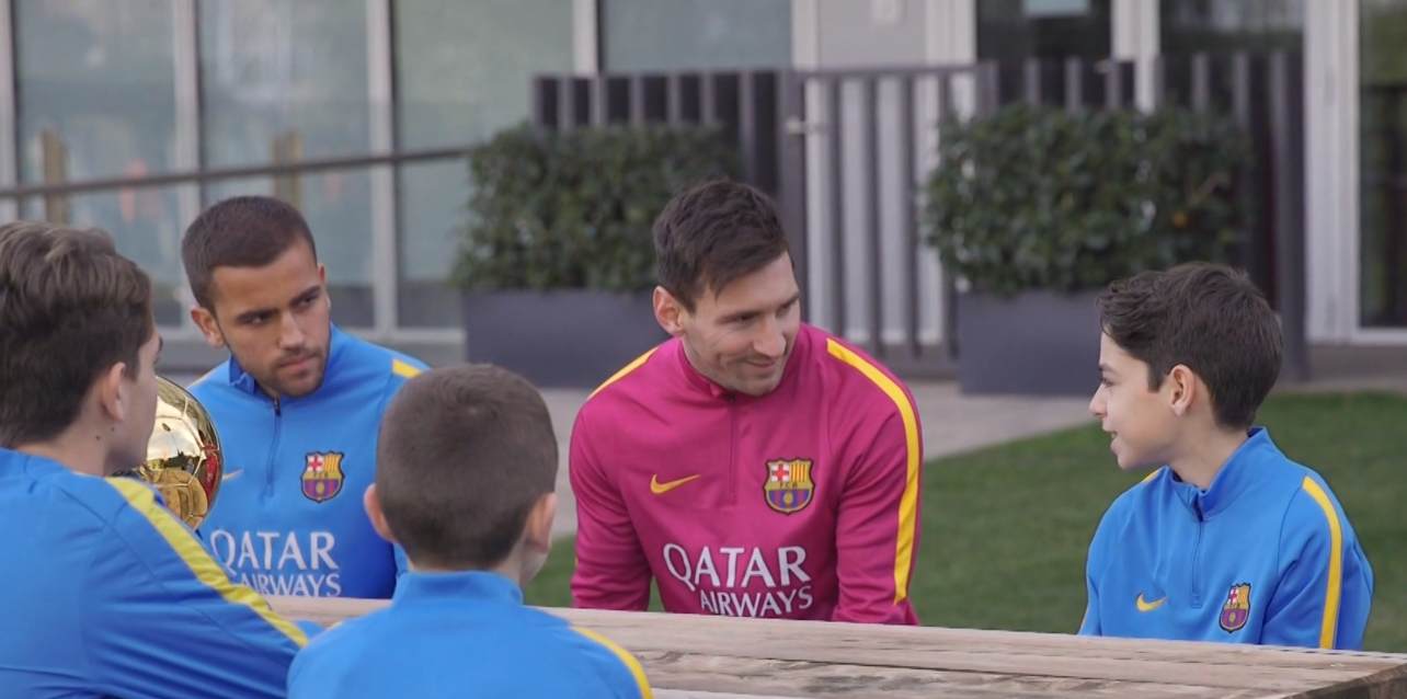 Messi Shares His Ballon d'Or With the Kid Captains of Barcelona's Training Academy