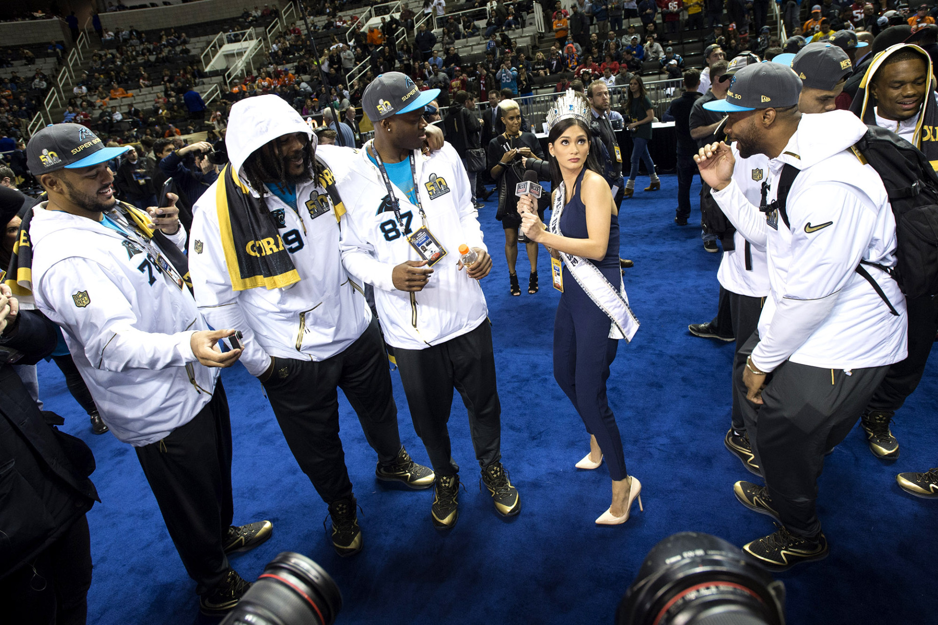 Miss Universe Dabbed With the Panthers, and Other Super Bowl Media Day Highlights