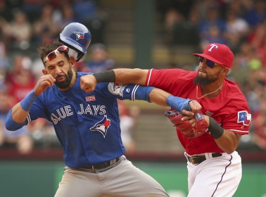 José Bautista Gets Punched in the Face During Blue Jays-Rangers Brawl, and the Latinternet Has Lots of Opinions