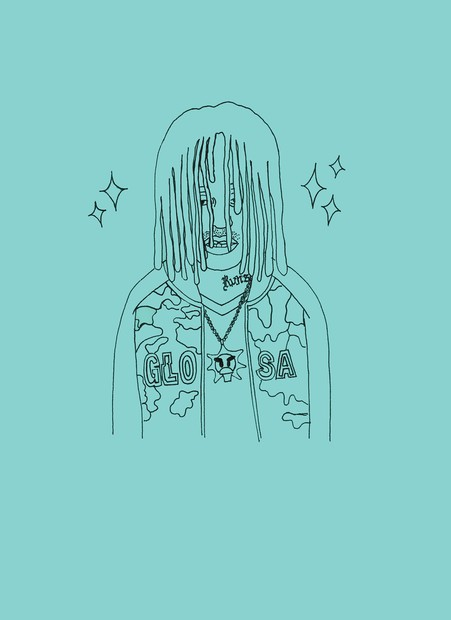 'Frank Sosa' illustration by Runsy, displayed at the Seventh Gallery in LA, printed on t-shirts and published in Frank 151