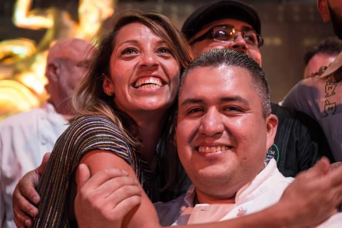 Chef Susie Jimenez celebrating. Photo by Itzel Martínez for Remezcla.