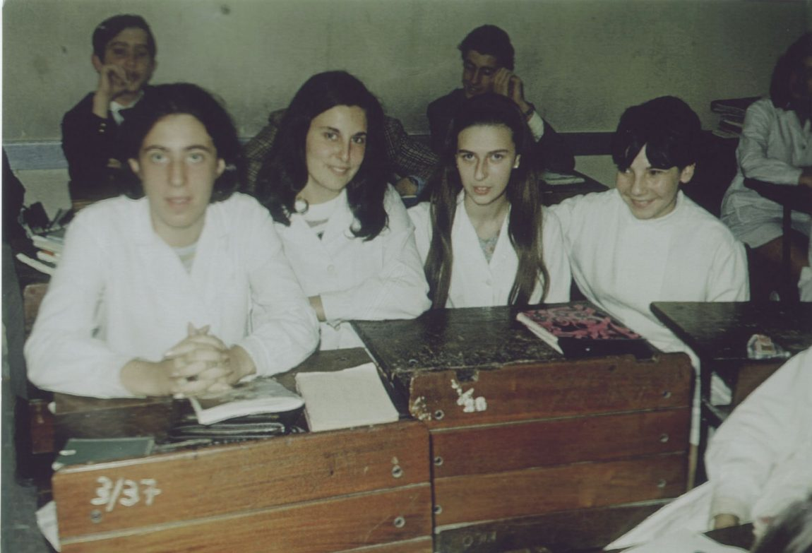 Adriana (far right) in school in Argentina.