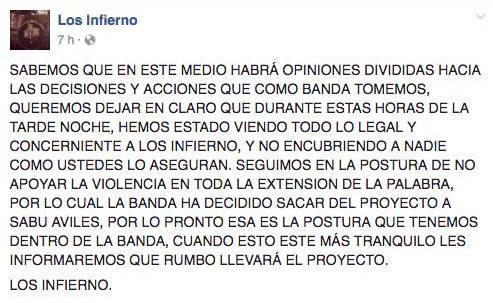 Los Infierno Facebook post.