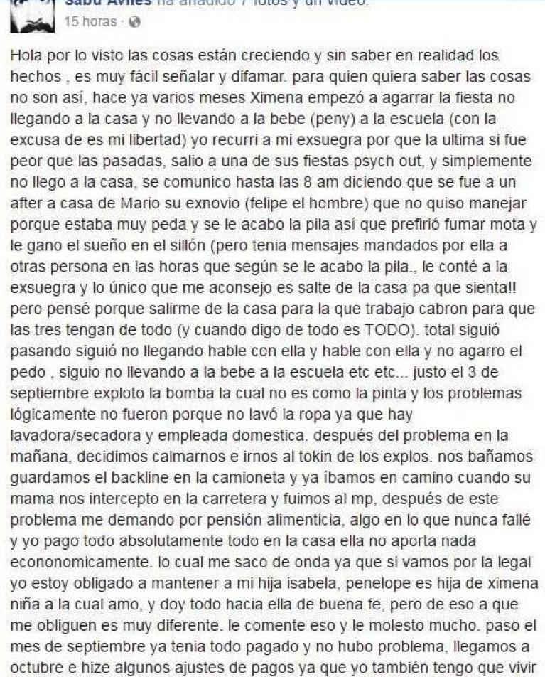 Sabu Avilés denies accusation on Facebook (part 1).