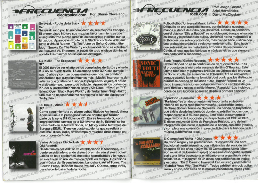 Electronic and rock reviews from Noctámbulo's Frecuencia section in issue #94, published in 2006.