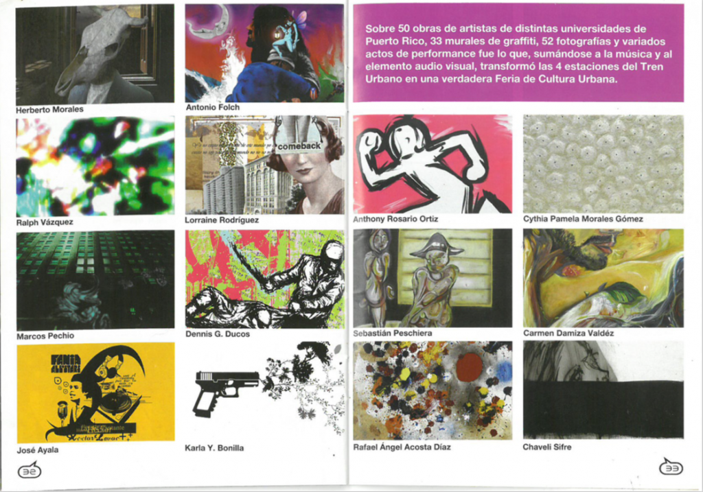 Noctámbulo spread showcasing more than 50 works by local artists on display at the four train stations in Puerto Rico's Tren Urbano system during the 2006 Feria de Cultura Urbana.