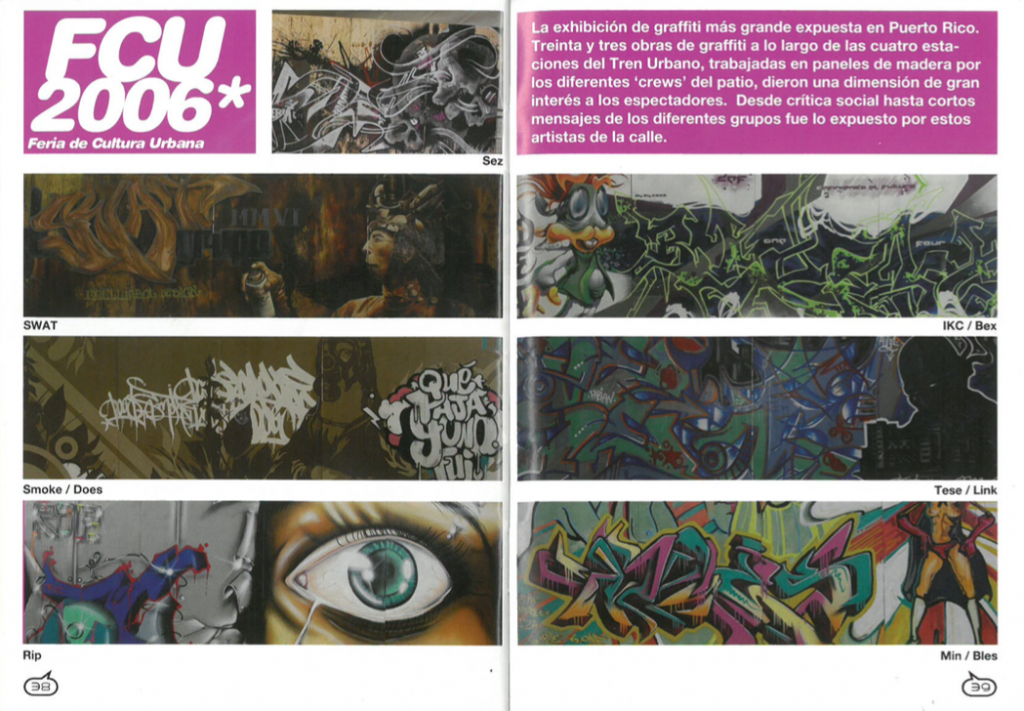 Noctámbulo spread showcasing selections from 33 works of graffiti on display during the 2006 Feria de Cultura Urbana.