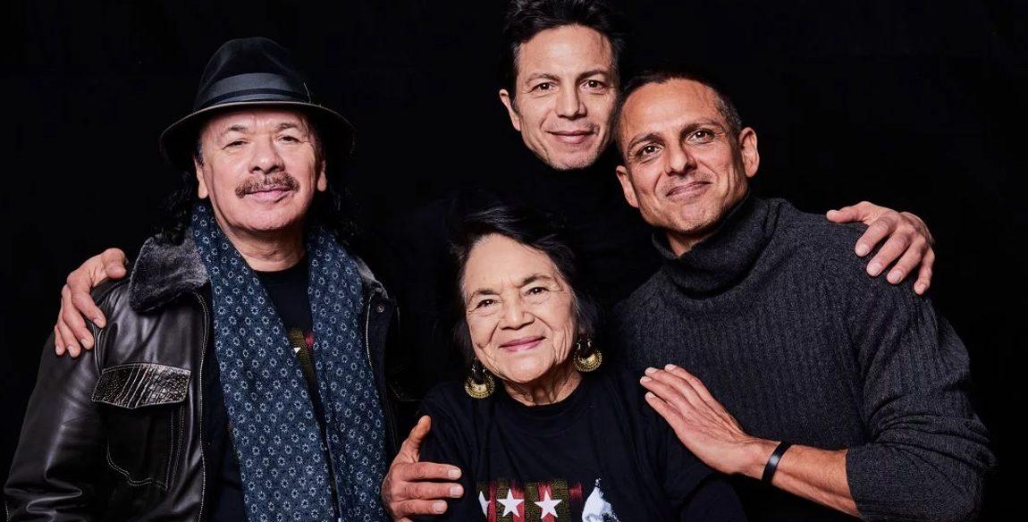 Carlos Santana, Dolores Huerta, Benjamin Bratt and Peter Bratt. 'Dolores' Latino documentary at Sundance