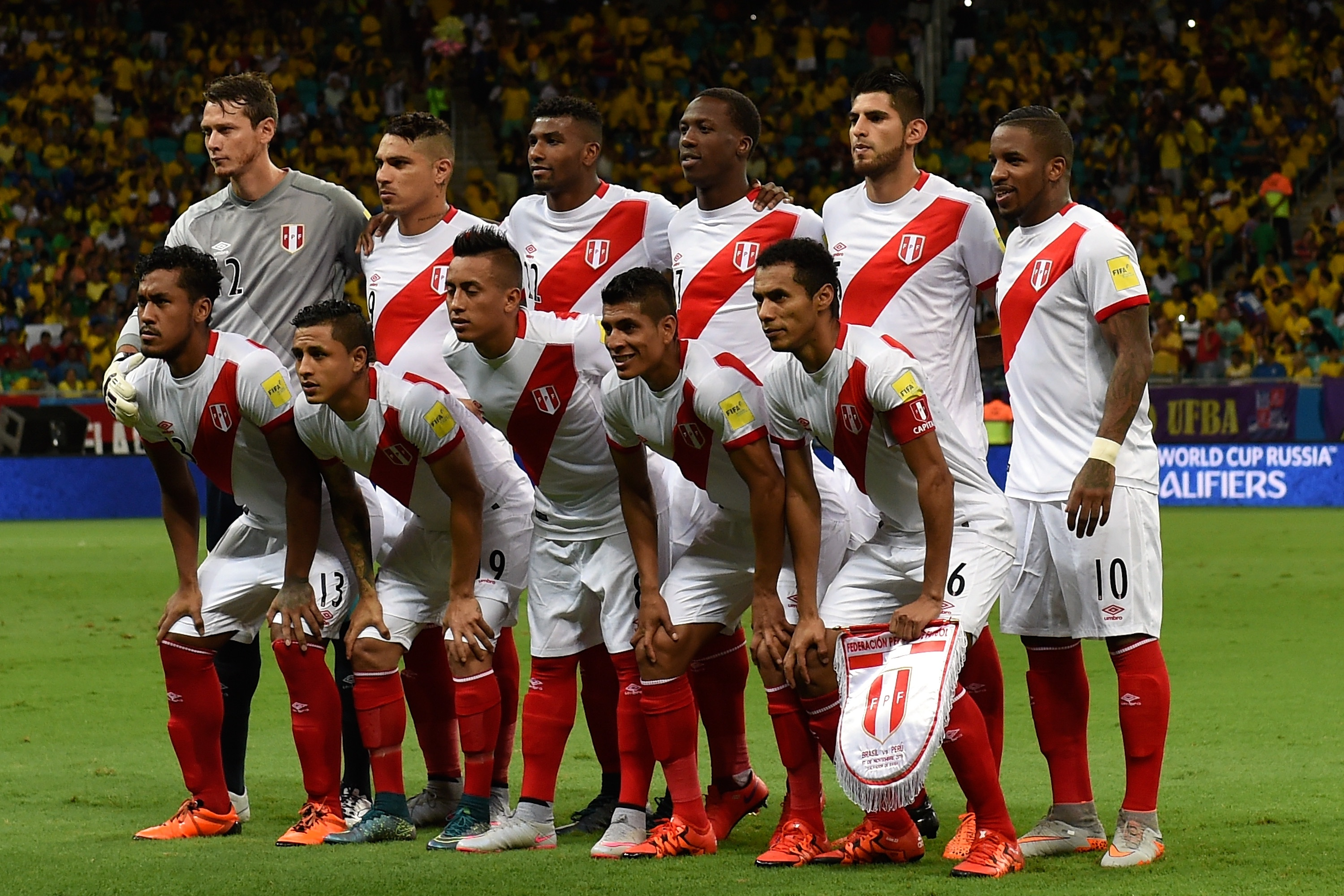 ef47c42a46b Peru's players pose for a photo before a match between Brazil and Peru as  part of 2018 FIFA World Cup Russia Qualifiers. Photo by Buda Mendes/Getty  Images