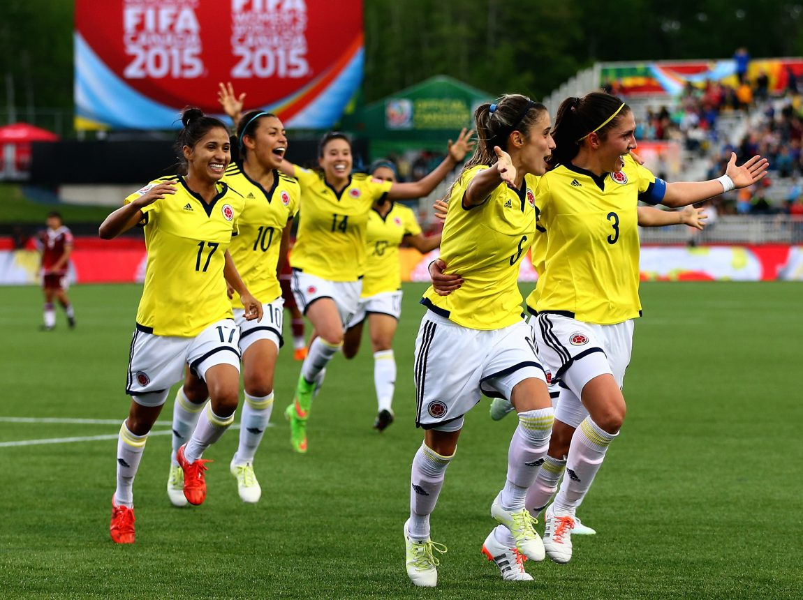 aae022394 Daniela Montoya celebrates her goal with teammates in the second half  against Mexico during the FIFA Women's World Cup 2015 at Moncton Stadium on  June 9, ...