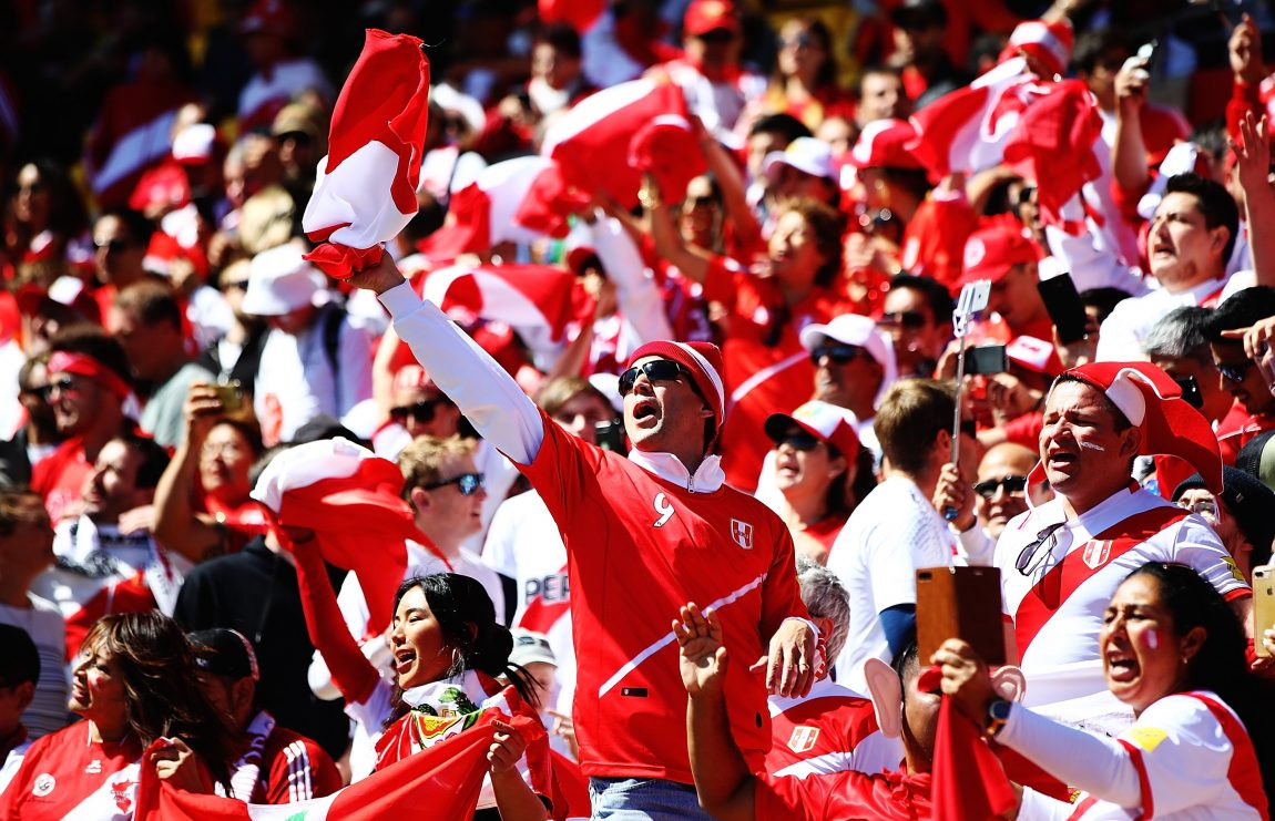 de12b2925 Peru fans sing ahead of the 2018 FIFA World Cup Qualifier match between New  Zealand and Peru at Westpac Stadium on November 11