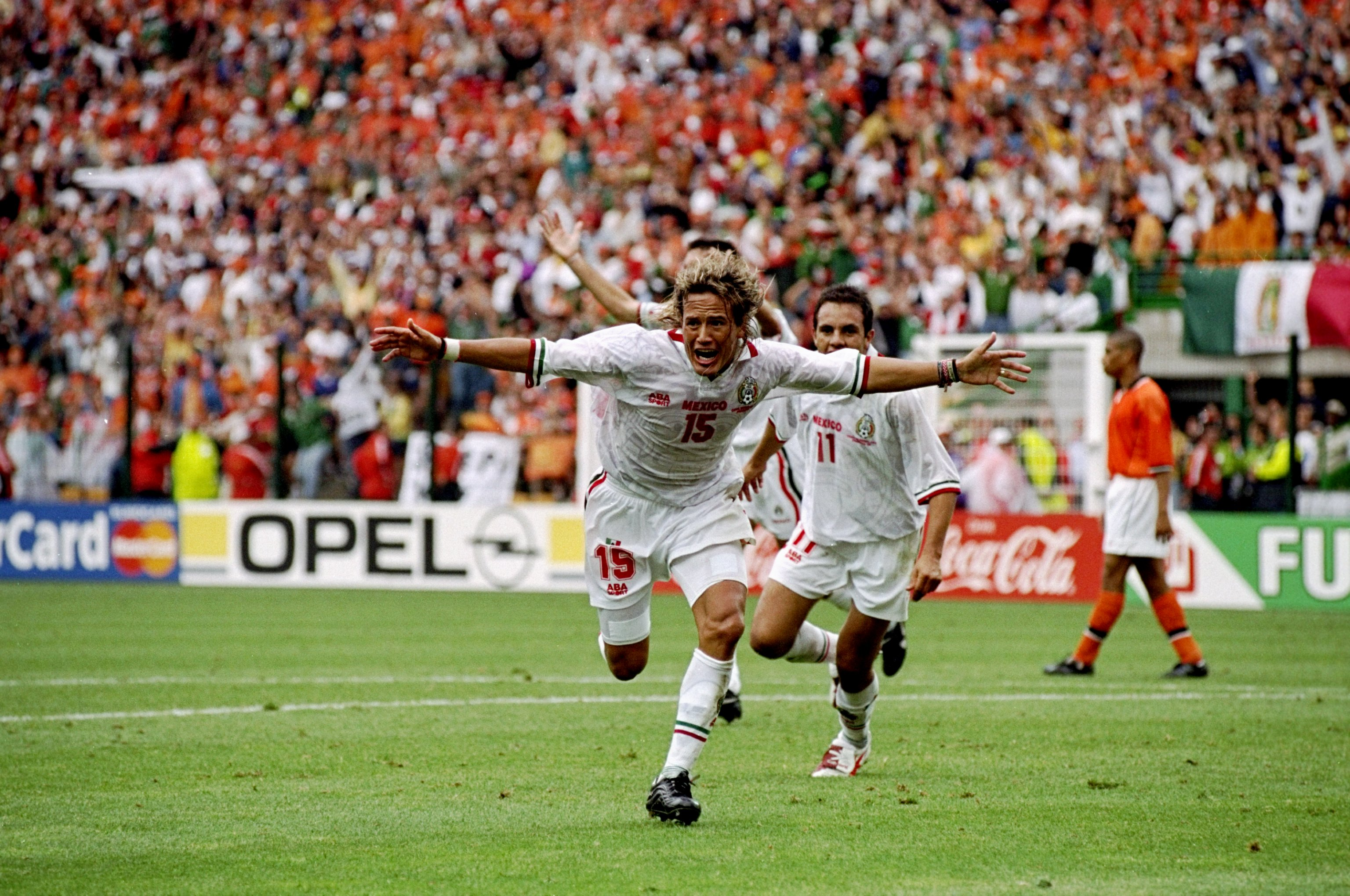 30f5e1042 Luis Hernández of Mexico celebrates after scoring the equaliser in the World  Cup group E game against Holland at the Stade Geoffroy Guichard in St  Etienne