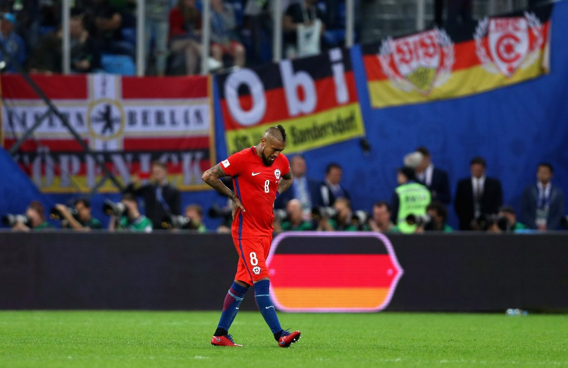 aa16daac4c0 Arturo Vidal of Chile shows dejection after the FIFA Confederations Cup  Russia 2017 Final. (Photo by Buda Mendes Getty Images)