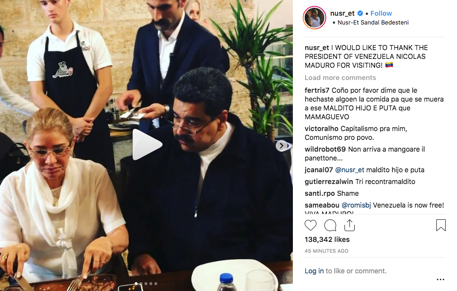 Venezuelans left to choke over Maduro's celebrity lunch