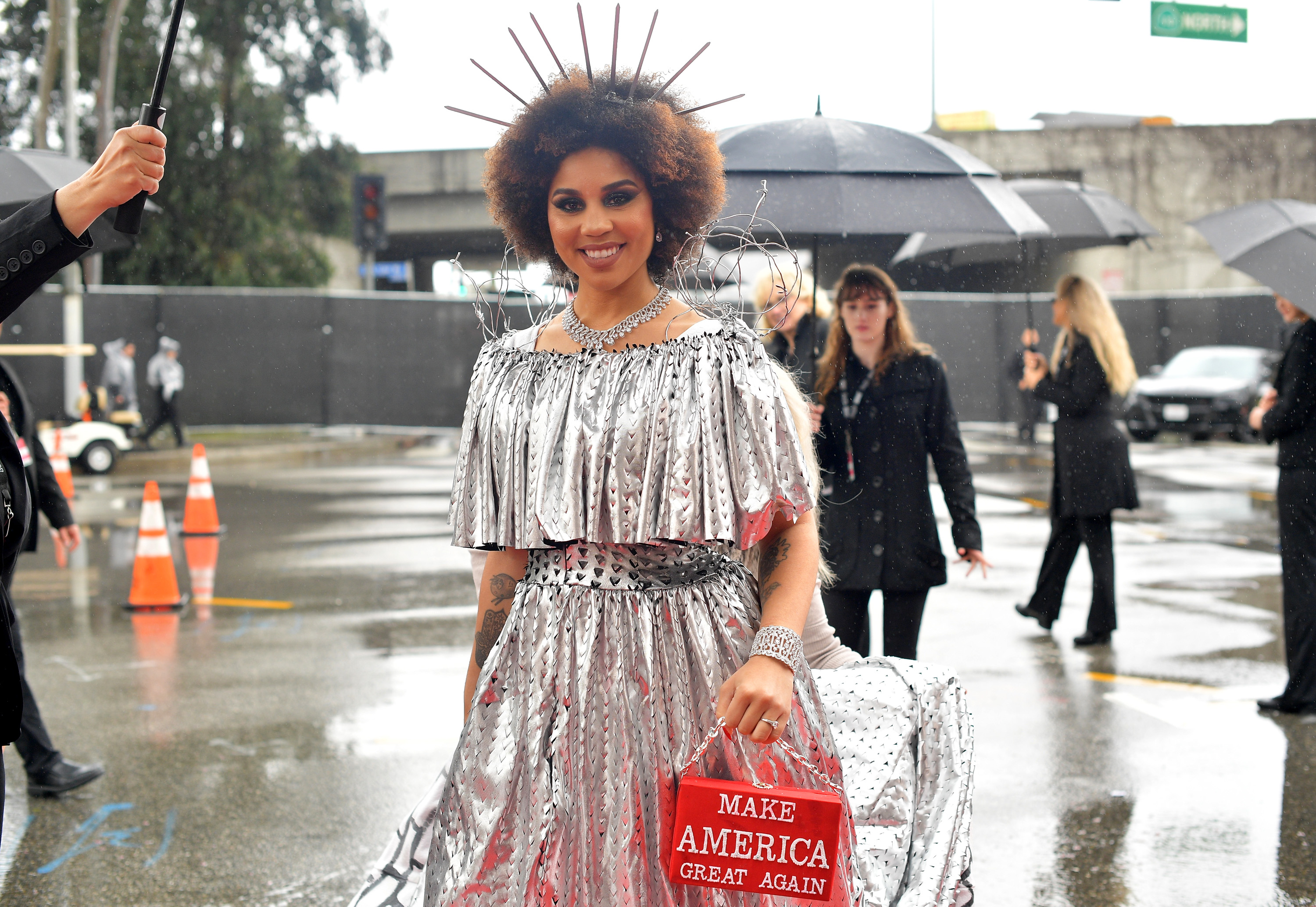 Joy Villa Dressed as the Border Wall – Complete With Barbed Wire – at the Grammys