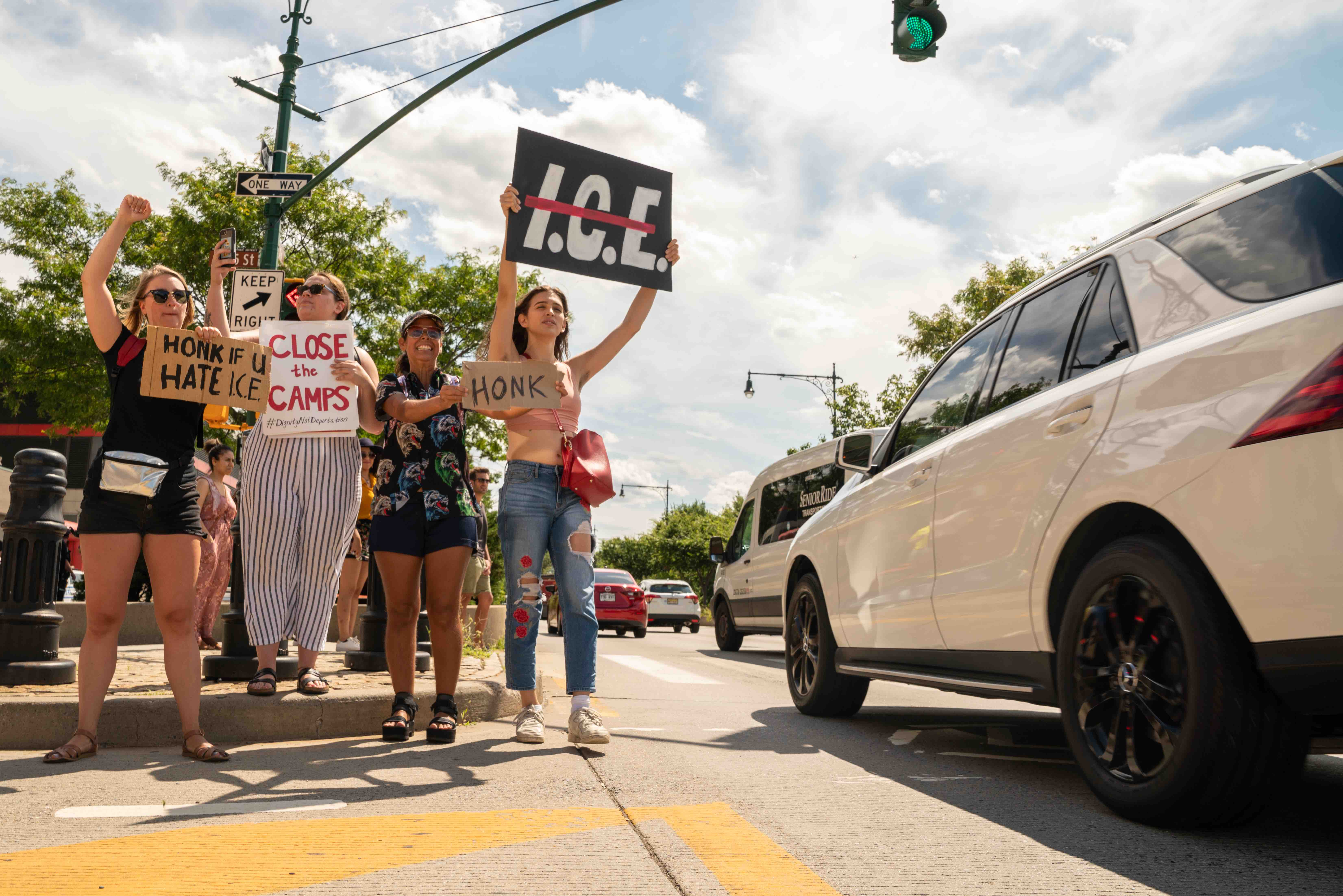A Truck Reportedly Driven by a Prison Guard Drove Into a Group of ICE Protesters