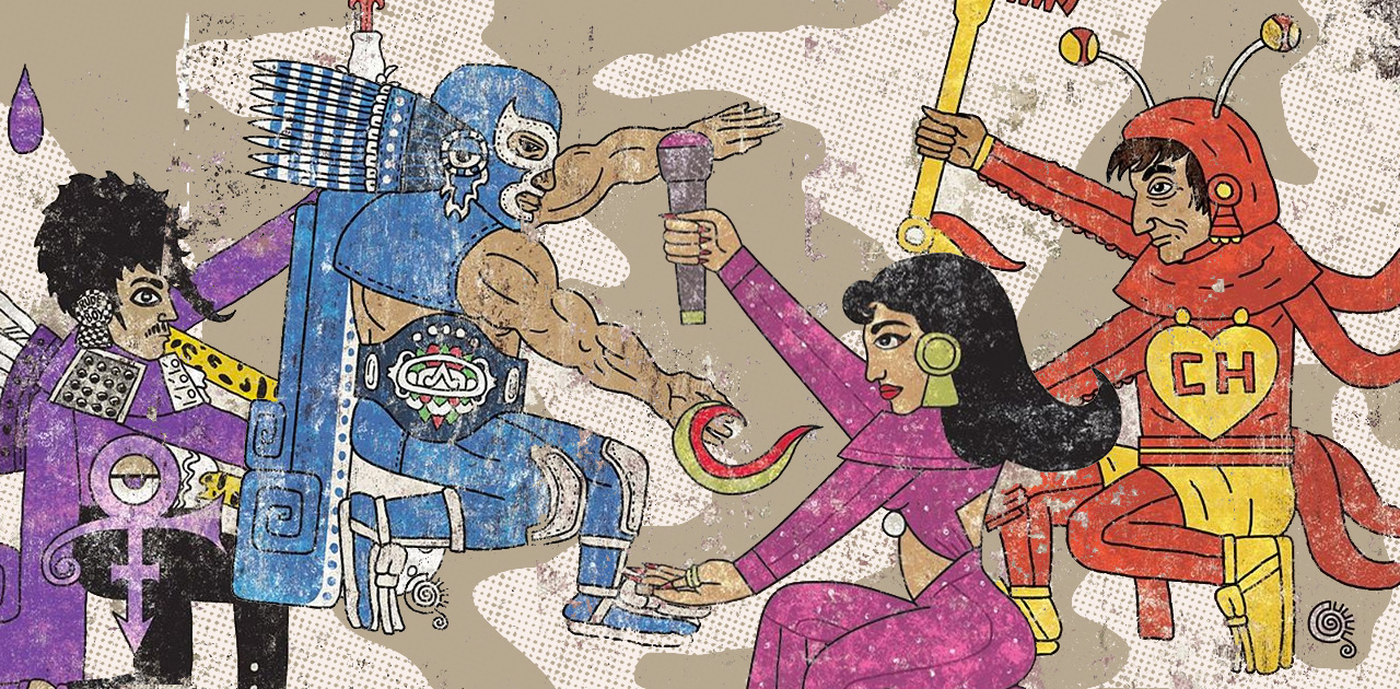 Artist Jorge Garza Has Aztec-Style Illustrations of Selena, Prince & More Pop Culture Figures