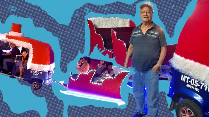 Mexican Abuelito Transforms His Mototaxi Into Santa's Sleigh
