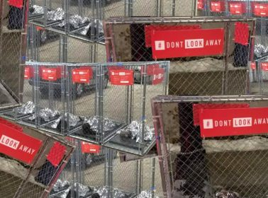 "Activists Place ""Kids in Cages"" Installation Throughout Des Moines Amid Iowa Caucus"